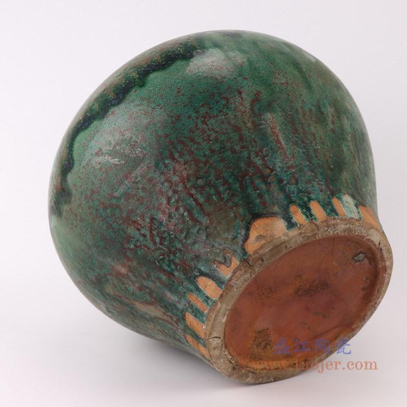 RZSP12 仿古窑变绿釉大肚瓶大肚罐子正面底部