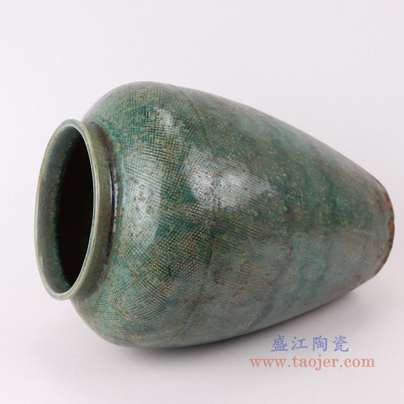 RZSP13 仿古窑变绿釉直筒敞口瓶罐子侧面