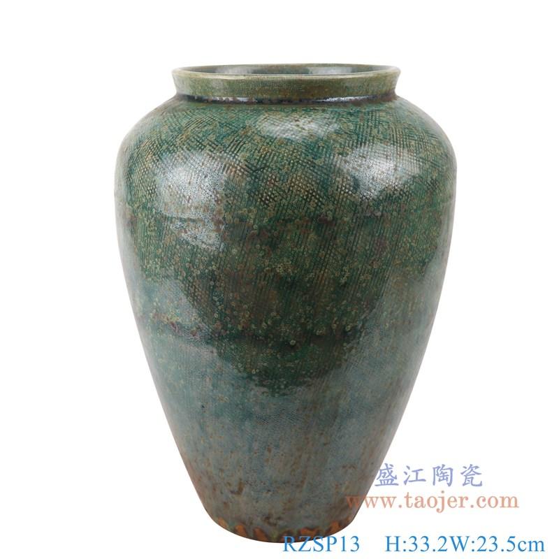 RZSP13 仿古窑变绿釉直筒敞口瓶罐子正面