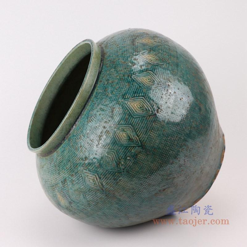 RZSP16 仿古窑变绿釉雕刻菱形纹大肚瓶罐子侧面