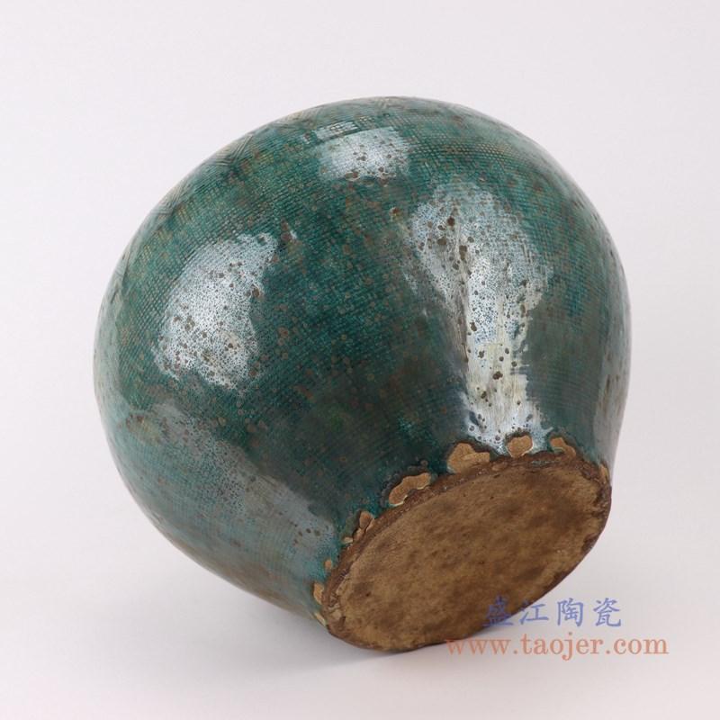 RZSP16 仿古窑变绿釉雕刻菱形纹大肚瓶罐子底部
