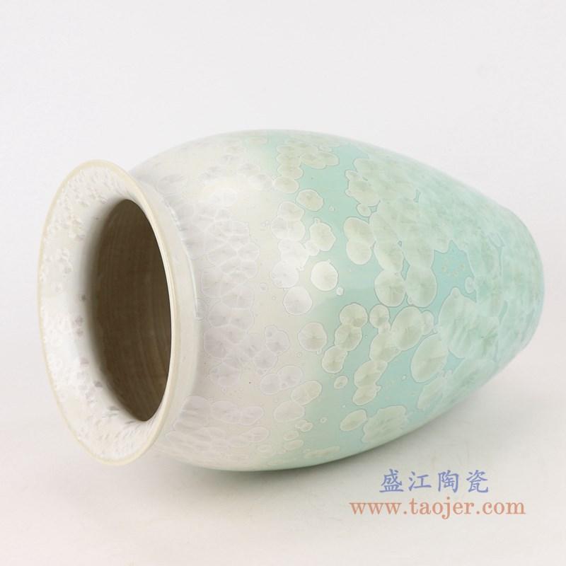 RYYX05 结晶釉白绿两色底敞口直筒瓶侧面