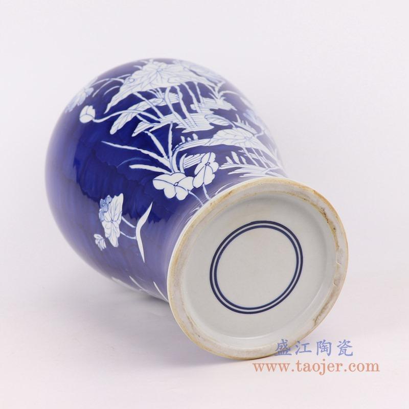 RYWG33 青花冰梅荷花水草纹梅瓶底部