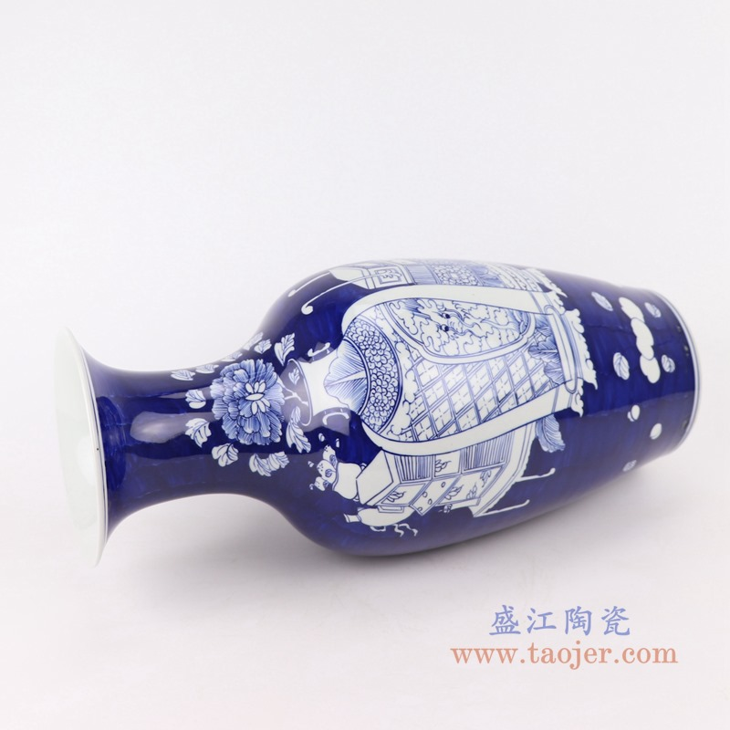 RYWG26 青花冰梅博古纹鱼尾瓶侧面