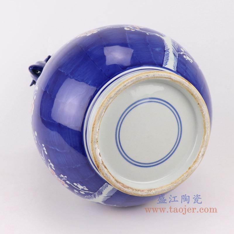 RYWG22 青花冰梅红梅双耳雕刻鹿耳福桶底部