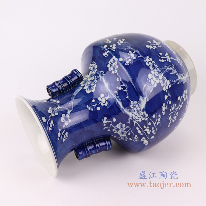 RYWG21 青花冰梅双耳瓶侧面