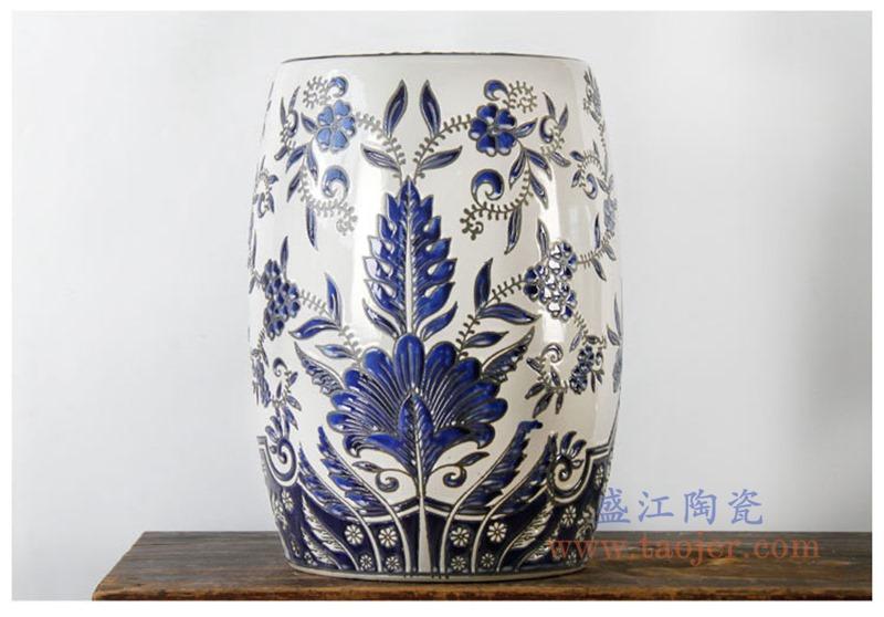 RYPU11 景德镇陶瓷 仿古青花陶瓷凳子鼓凳瓷墩正面