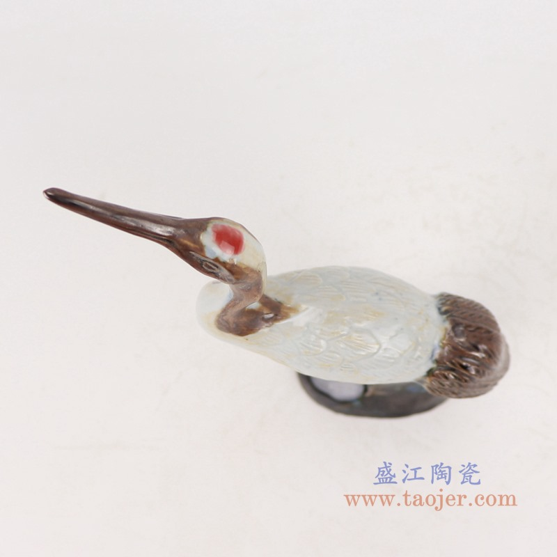 RZSM01-A 颜色釉窑变釉雕刻雕塑单羽仙鹤顶部