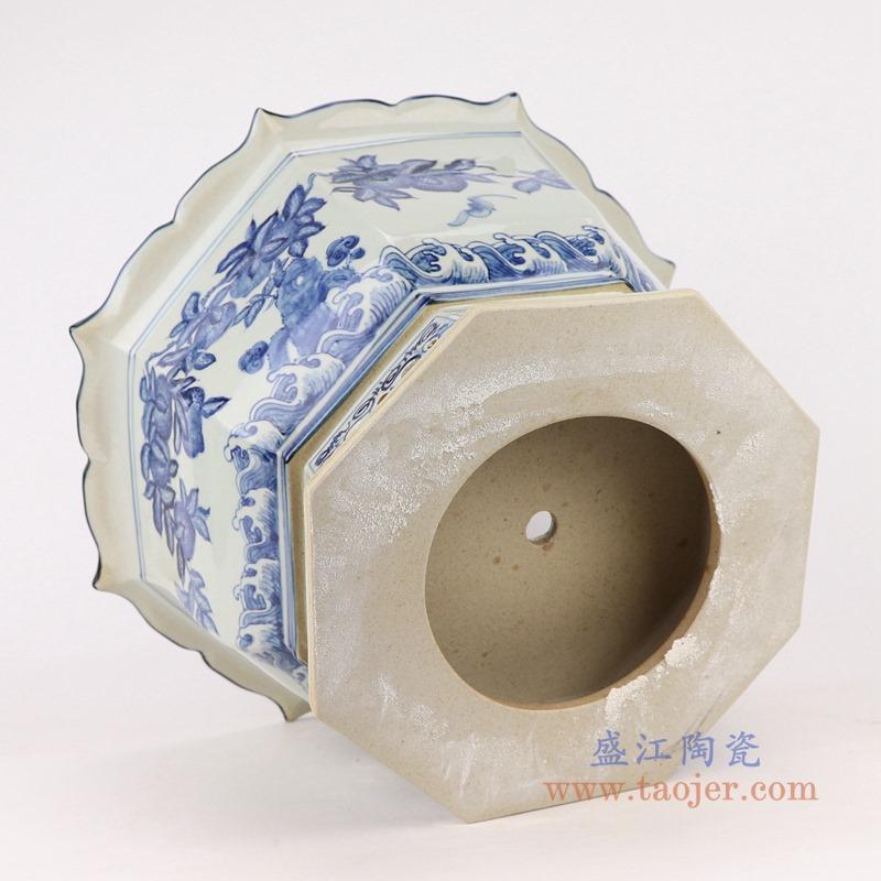 RZAJ18 青花福寿仙桃蝙蝠纹八面花盆侧面底部