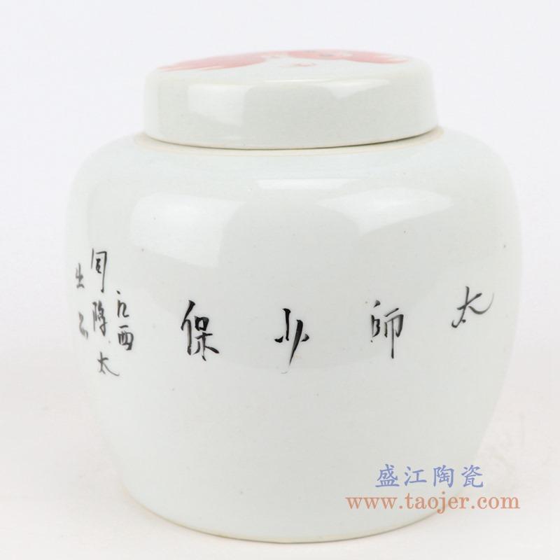 RZIH22-B 矾红狮子纹坛子盖罐背面