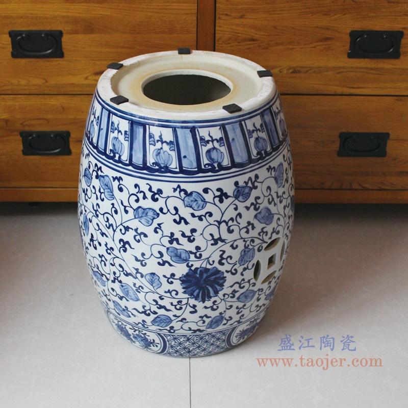 RYNQ250-B 青花连理枝陶瓷瓷凳摆件