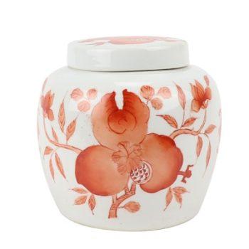 RZIH22-A  矾红石榴纹坛子盖罐