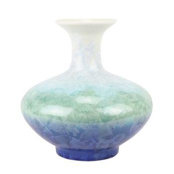 RZCU05  结晶釉白绿蓝底扁肚瓶