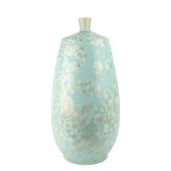 RYYX03 结晶釉绿底白花直筒瓶