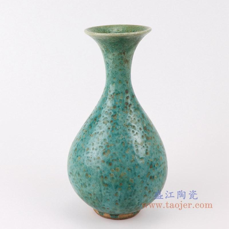 RZSP18 仿古窑变绿釉小玉壶春瓶正面
