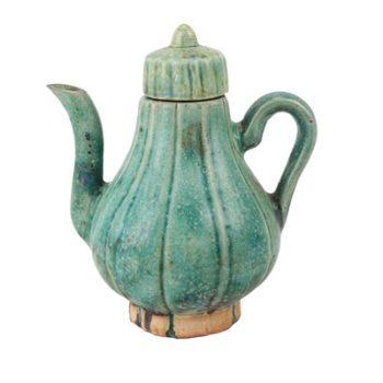 RZSP24 仿古窑变绿釉竖纹带盖水壶酒壶