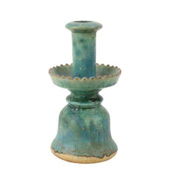 RZSP22 仿古窑变绿釉烛台