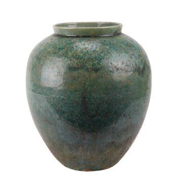 RZSP05 仿古窑变绿釉网格纹罐子