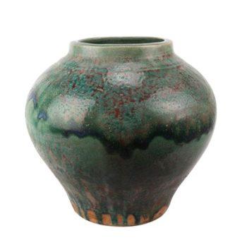 RZSP12 仿古窑变绿釉大肚瓶大肚罐子