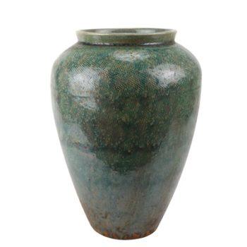 RZSP13 仿古窑变绿釉直筒敞口瓶罐子