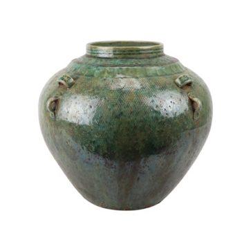 RZSP14 仿古窑变绿釉四耳大肚瓶大肚罐子