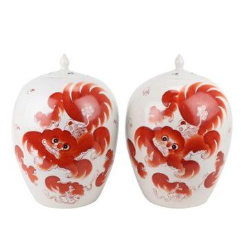 RZIH20 矾红狮子纹冬瓜罐尖盖罐一对