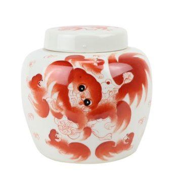 RZIH22-B 矾红狮子纹坛子盖罐