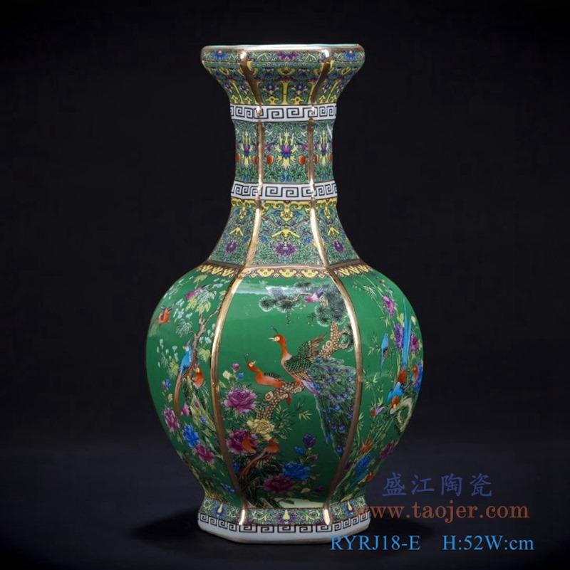RYRJ18-E珐琅彩粉彩描金六方绿底花鸟花瓶大号