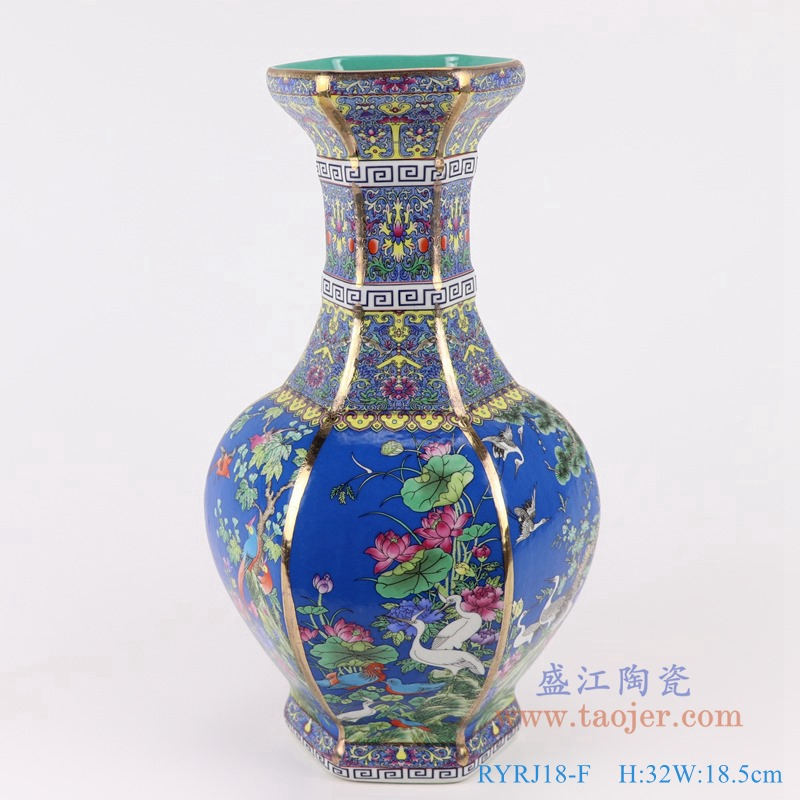 RYRJ18-F珐琅彩粉彩描金六方蓝底花鸟花瓶中号正面
