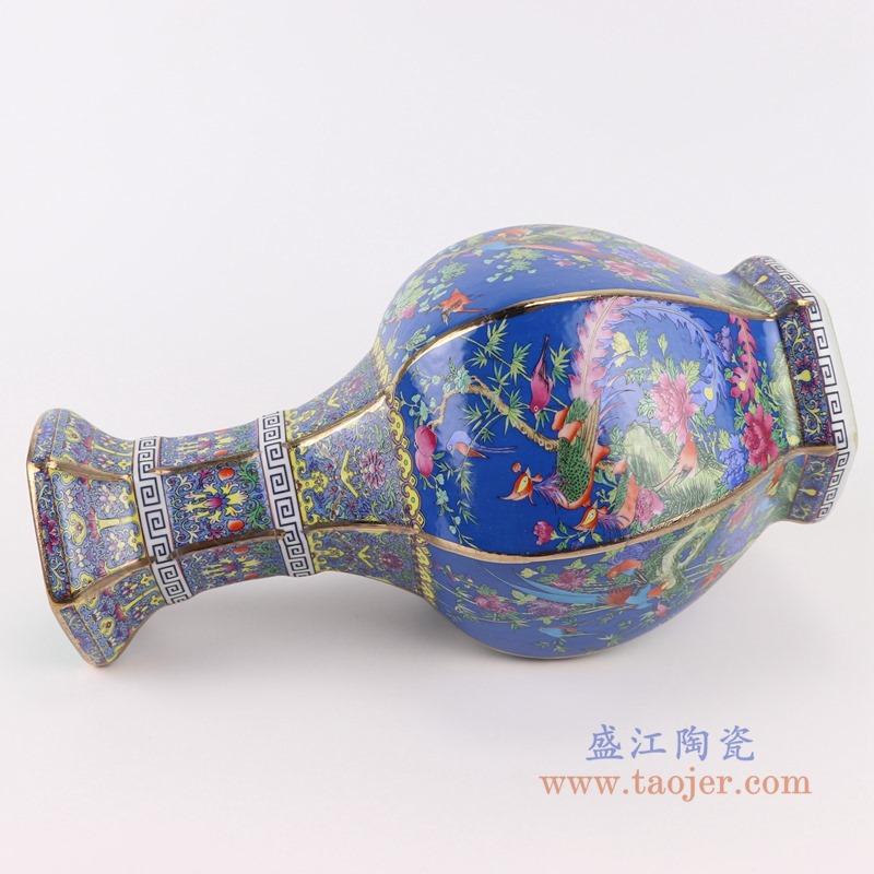RYRJ18-F珐琅彩粉彩描金六方蓝底花鸟花瓶中号侧面