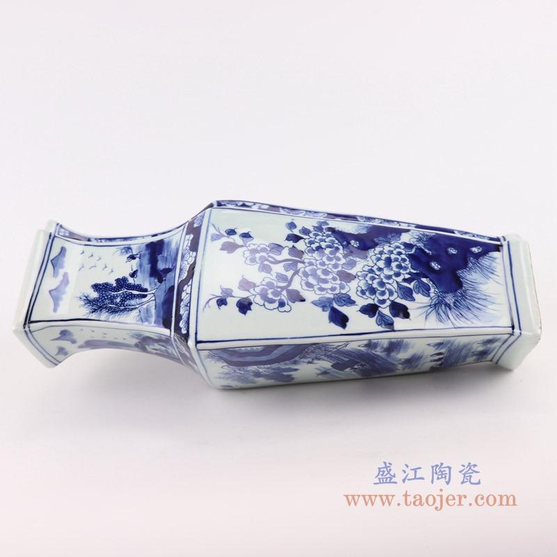 RYUK39青花花鸟菱形花瓶异形花瓶侧面