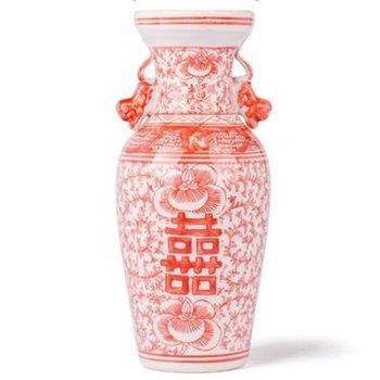 RYVM35矾红串花缠枝莲喜字纹双耳瓶