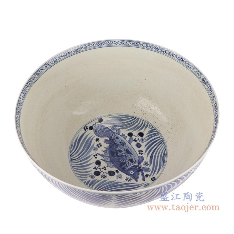 RZFH07-B 鱼藻纹内绘莲池纹大碗内部