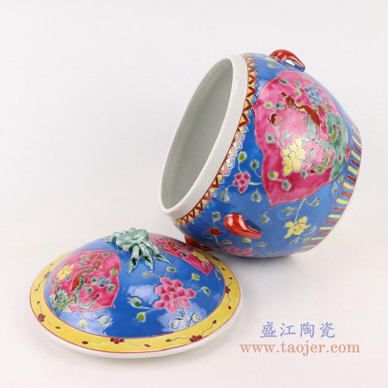 RYZG11-D 粉彩蓝底开窗凤凰纹饭鼓饭盒食盒储物罐侧面