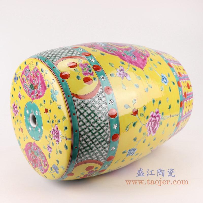RYZG33-C粉彩黄底开窗凤凰纹凳子凉墩侧面