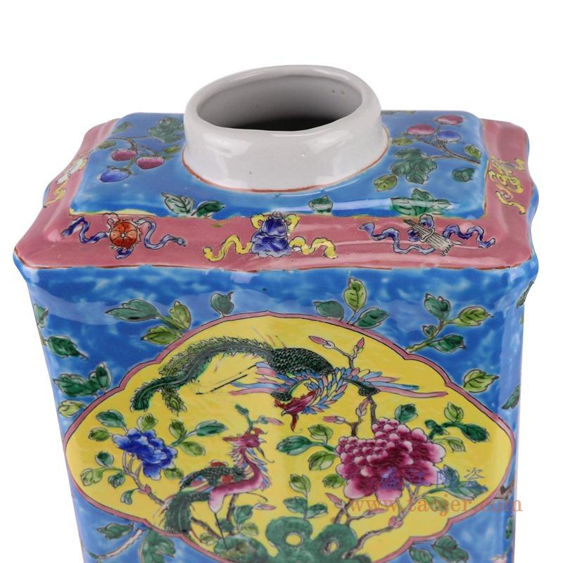 RZFA15-C 粉彩蓝底开窗凤凰纹四方扁罐圆盖储物罐细节