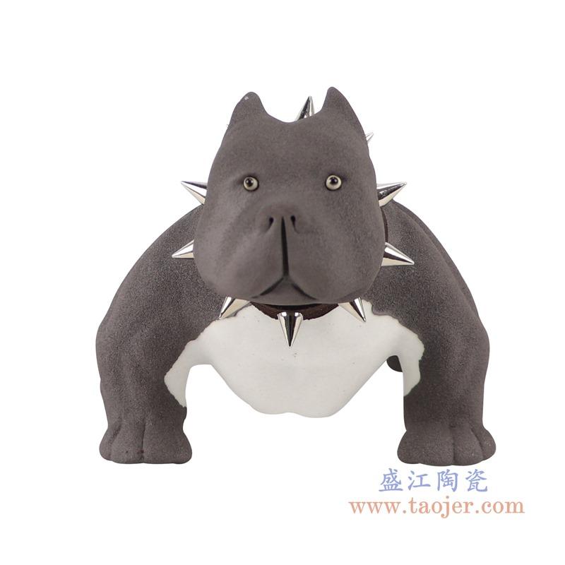 RZSH11黑色哈巴狗小狗雕刻雕塑正面