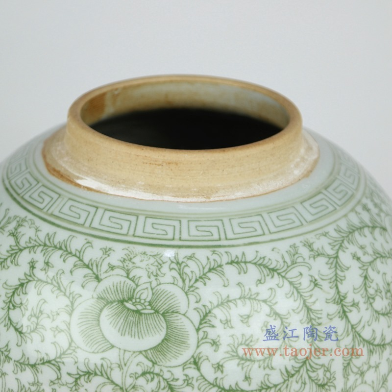 RZSI04 绿色缠枝串花坛罐子盖罐细节