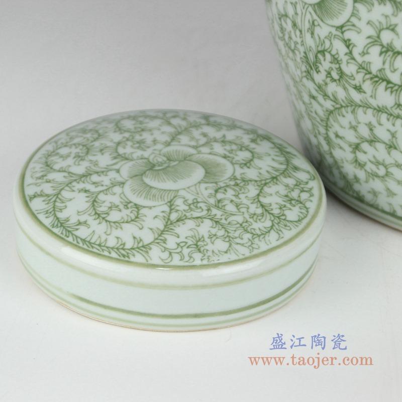 RZSI04 绿色缠枝串花坛罐子盖罐盖子