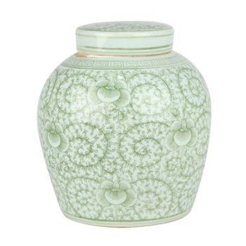 RZSI04 绿色缠枝串花坛罐子盖罐