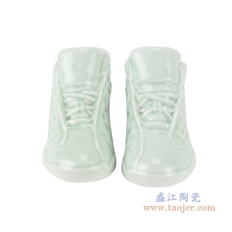 RZQU08颜色釉青釉雕刻小号鞋子正面