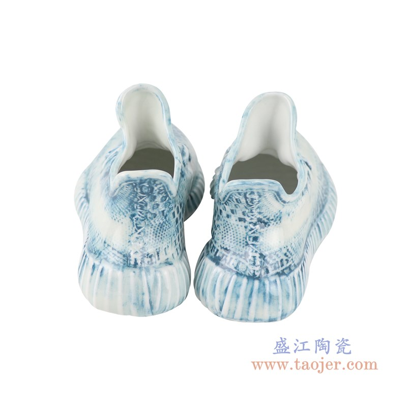 RZQU07颜色釉雕刻牛仔格子拉链纹纹小号鞋子背面