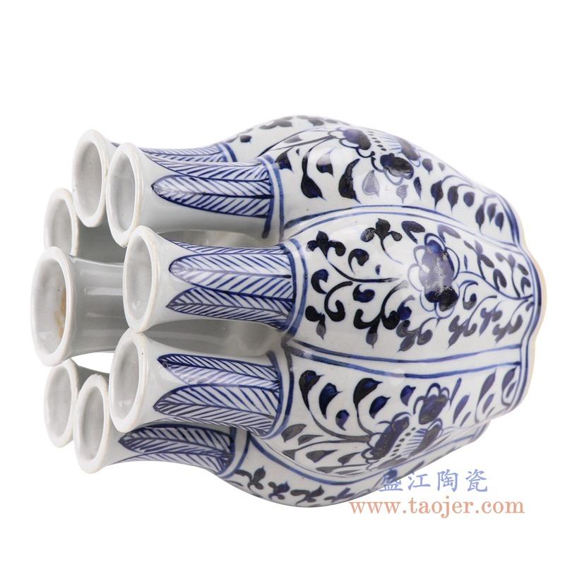 RZKR12青花多口玉壶春瓶异形花瓶侧面