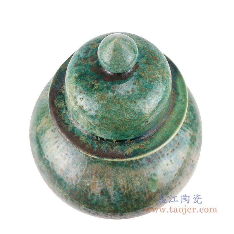 RZSP26窑变绿釉绿色将军罐顶部