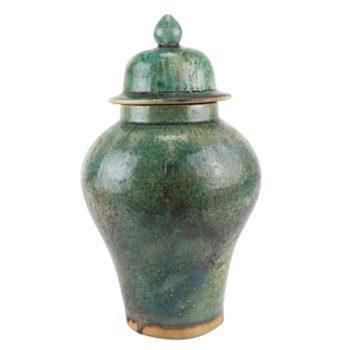 RZSP26窑变绿釉绿色将军罐