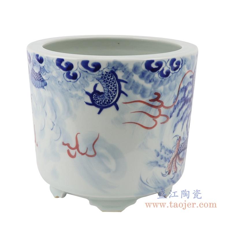 RZNX06青花龙纹瓷器香炉寺庙大殿摆件香炉背面