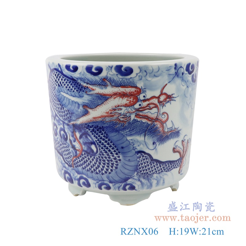 RZNX06青花龙纹瓷器香炉寺庙大殿摆件香炉正面