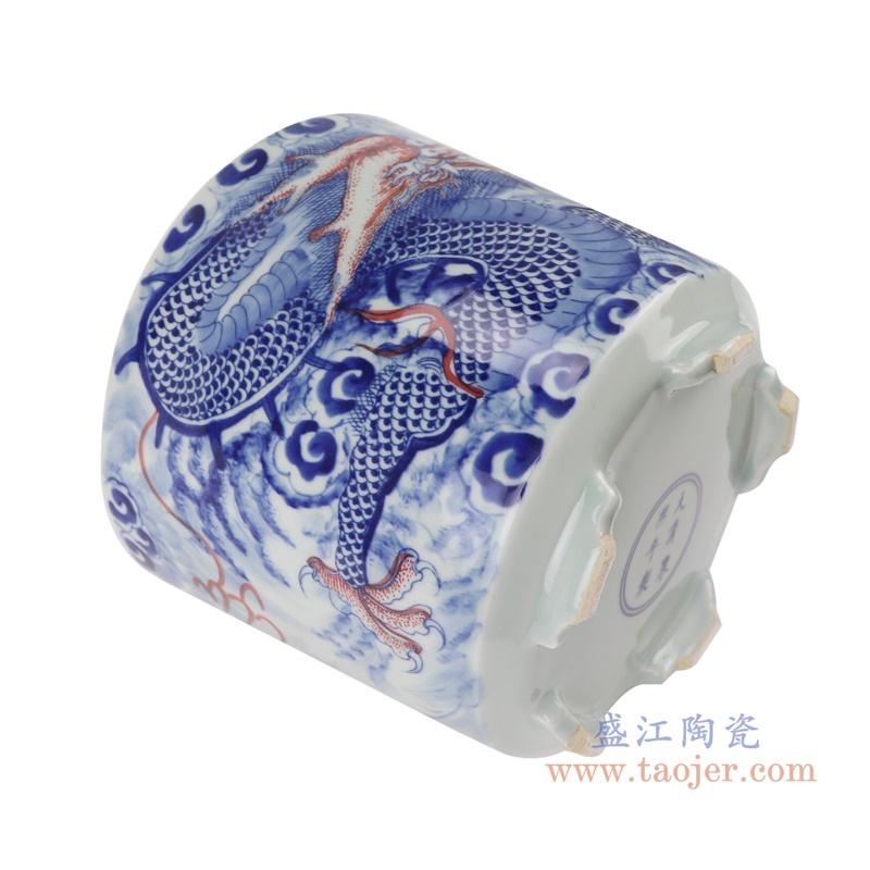 RZNX06青花龙纹瓷器香炉寺庙大殿摆件香炉侧面