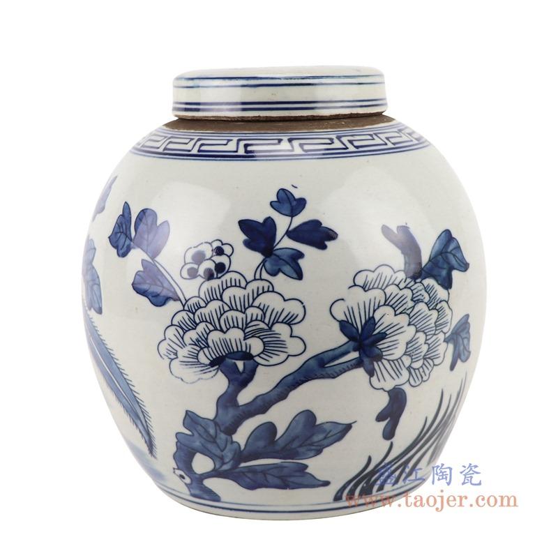 RZGC12-A青花花鸟眀罐储物罐盖罐侧面