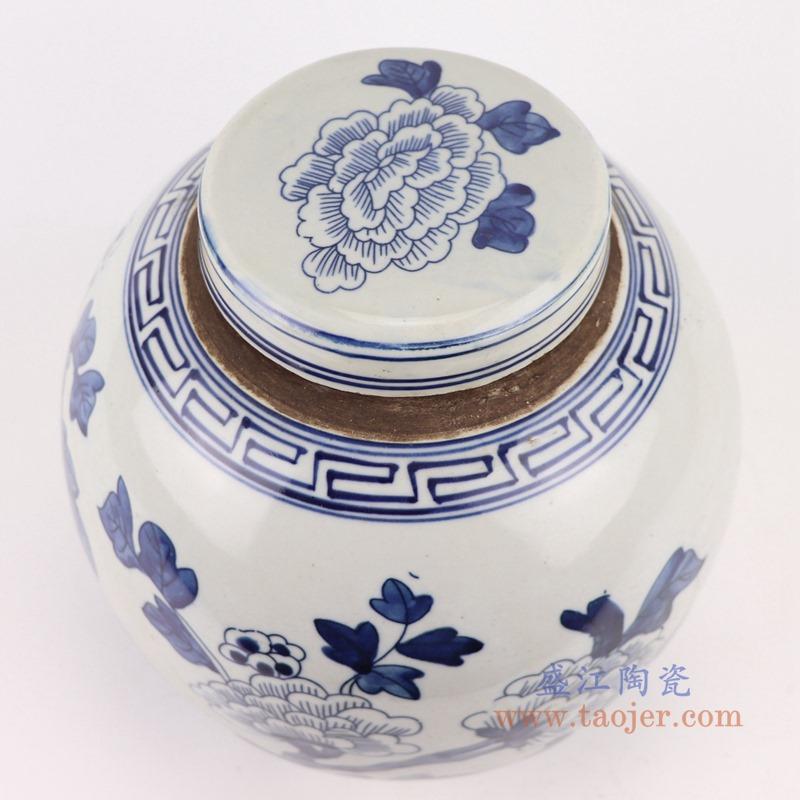 RZGC12-A青花花鸟眀罐储物罐盖罐顶部